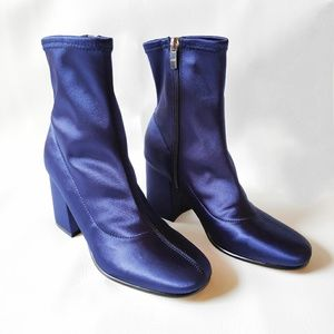 Marc Fischer Blue Satin Sock Booties Size 7.5